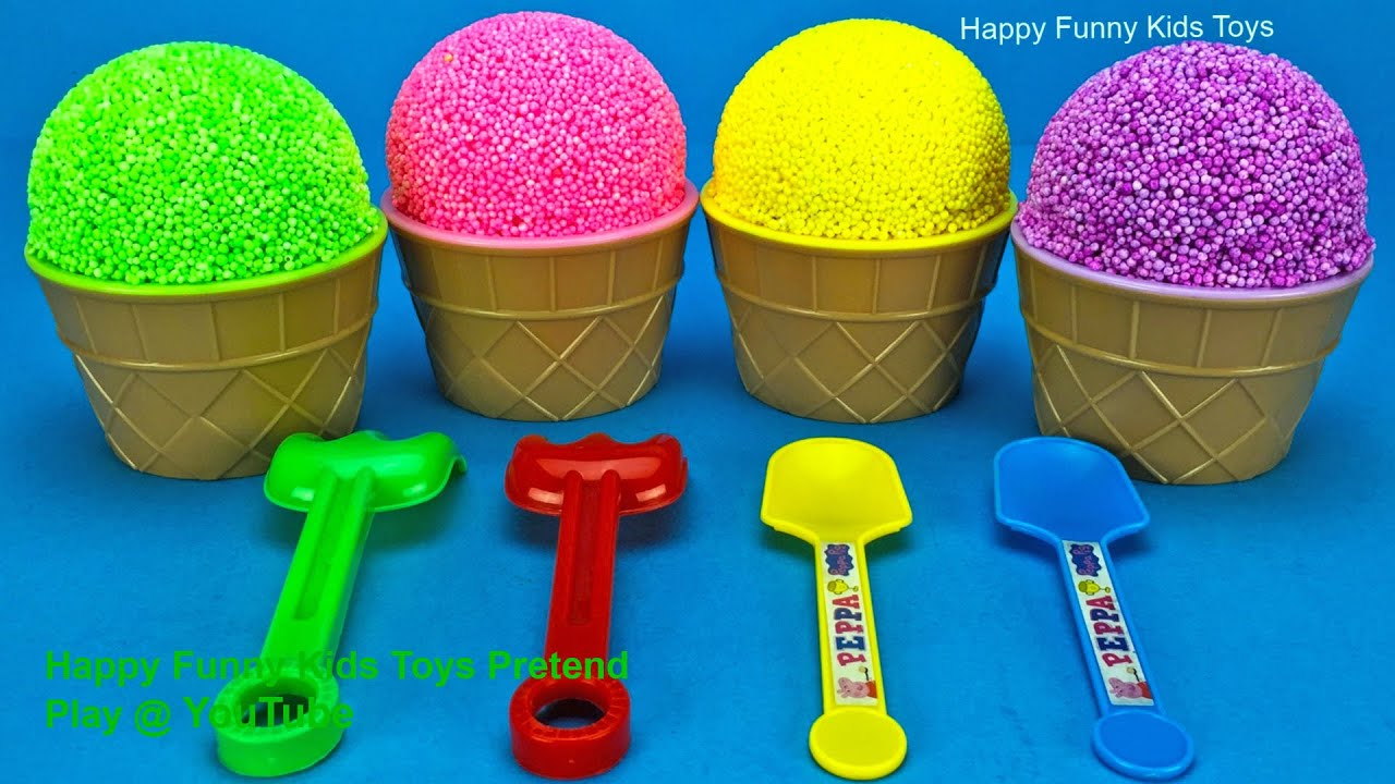 Play Foam Ice Cream Cups Surprise Toys Kinder Surprise Eggs and Learn Colors