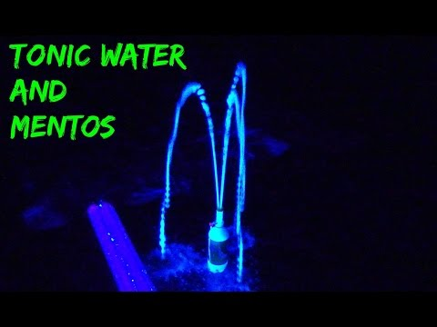 Tonic Water And Mentos In Blacklight