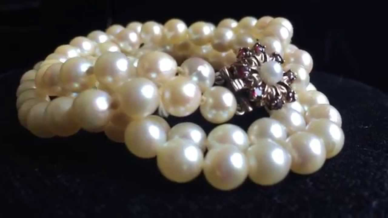 Vintage Double Strand Japanese Akoya Pearl Necklace
