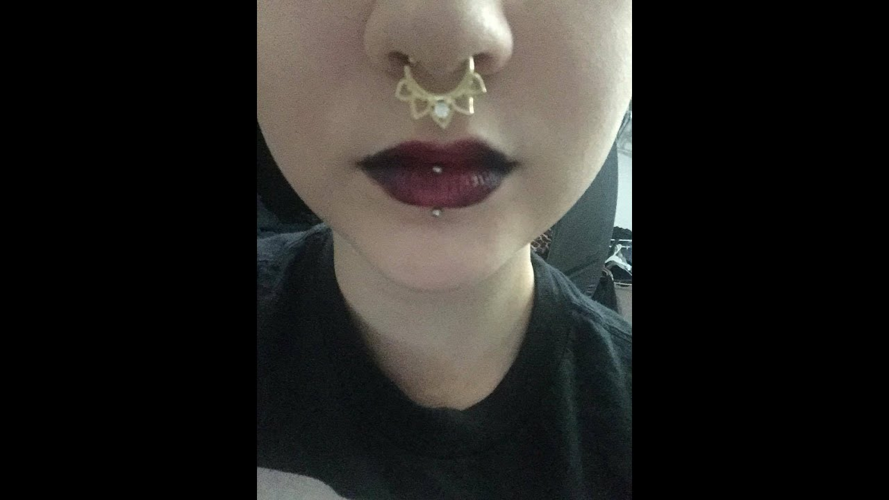 273ef0035 Vertical labret piercing with braces - YouTube