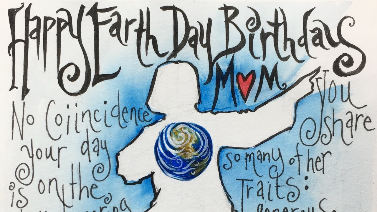 Speed Drawing Happy Earth Day Birthday Mom