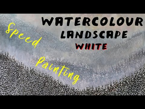 Watercolour Landscape Painting in White
