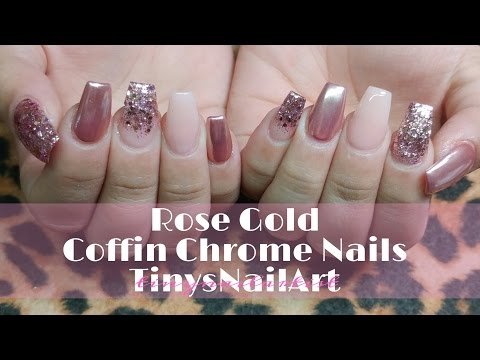 Rose Gold Coffin Chrome Nails