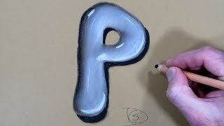 How to Draw a Letter P in Water With Dry Pastel pencils