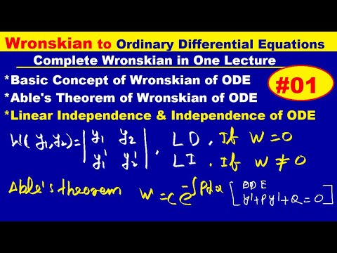 DEFINITION OF WRONSKIAN IN HINDI,CONDITION OF DEPENDENT AND INDEPENDENT OF WRONSKIAN, ABLE'S THEOREM