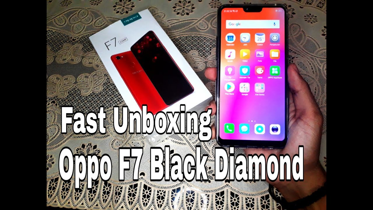 Fast Unboxing Oppo F7 Black Diamond Harga Promo Youtube