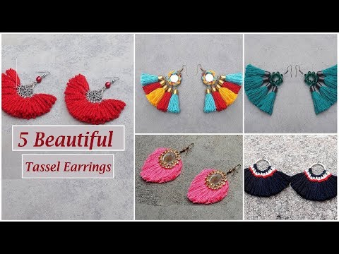 5 Handmade Tassel Earrings | How  to Make Tassel Earrings At Home | DIY | Creation&you