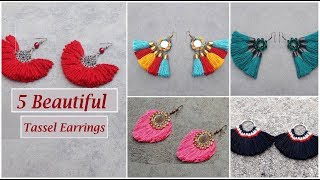 5 Handmade Tassel Earrings | How  to Make Tassel Earrings At Home | DIY | Creation&you