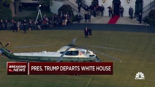 President Donald Trump departs the White House for the last time
