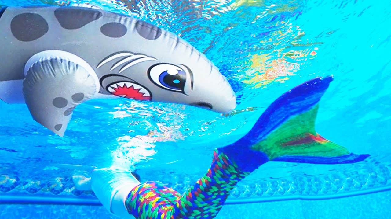 Mermaid Swimming In Our Pool With Shark Pretend Playtime Family Friendly Fun Youtube