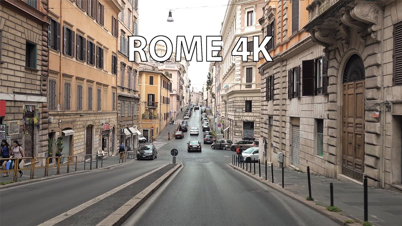 Rome 4K - Morning Drive - Driving Downtown