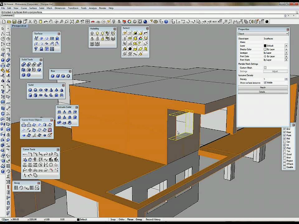 Create 3d house part 2 2 make 3d model in rhino youtube for 3d building creator