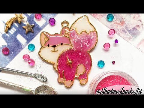 Cute UV Resin Craft Fox Speedpaint - Kawaii Charm Crafting DIY - Mixing Glitter Colours