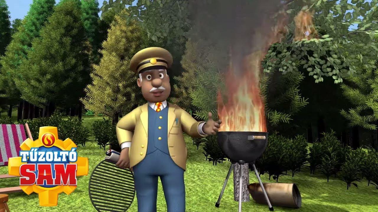 Tűz a barbecue-on! | tűzoltó sam tisztviselő | Rajzfilmek gyerekeknek