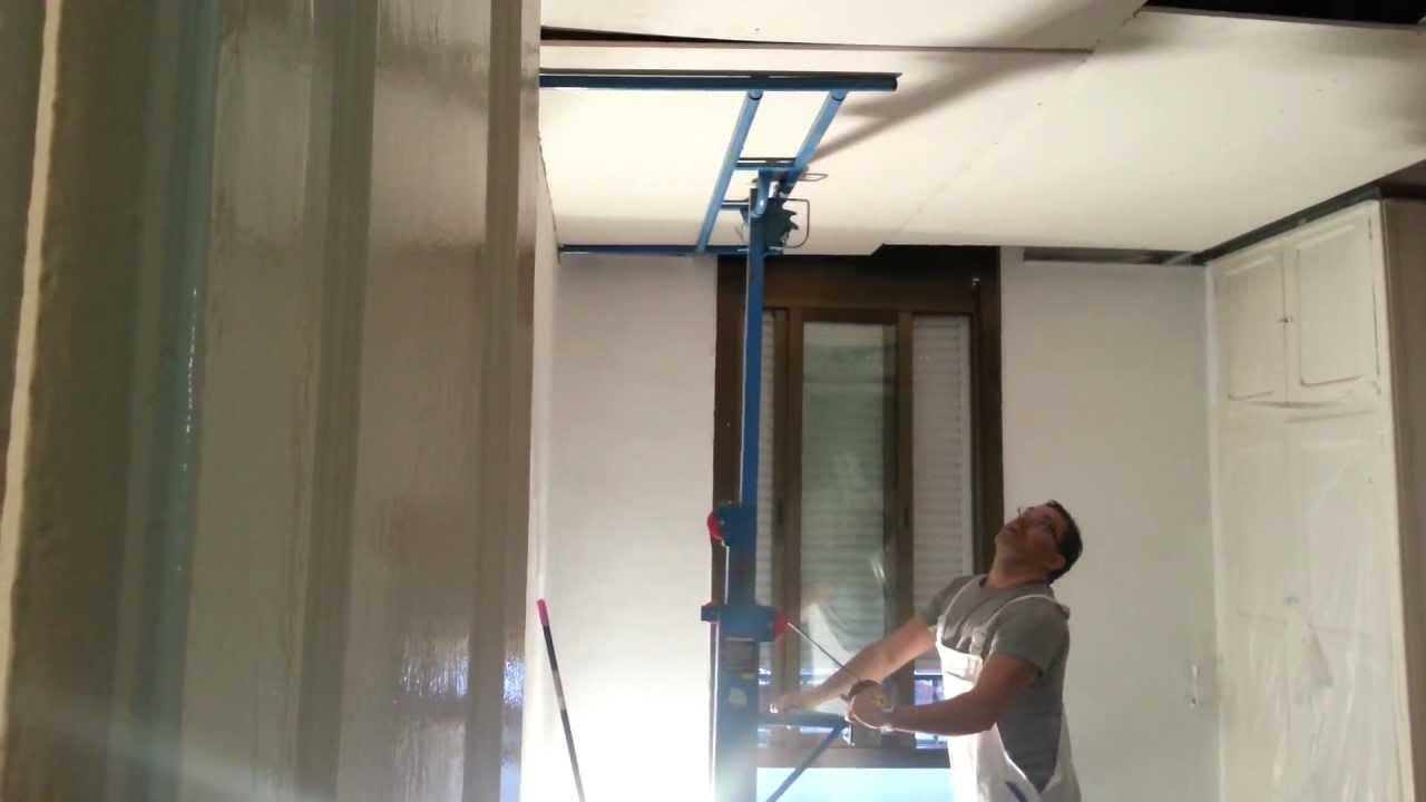 Instalacion de techo continuo en pladur con ayuda de - Elevador placas pladur ...