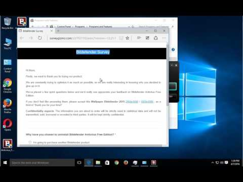 Uninstall Bitdefender Antivirus Free Edition on Win 10