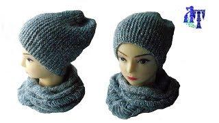 Шапка бини частичным вязанием - идеальный вариант #ЛюдмилаТен