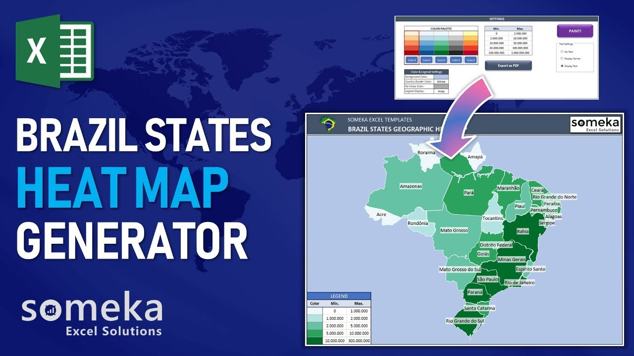 Brazil Heat Map Generator Dynamic Printable Excel Template YouTube - Color map generator