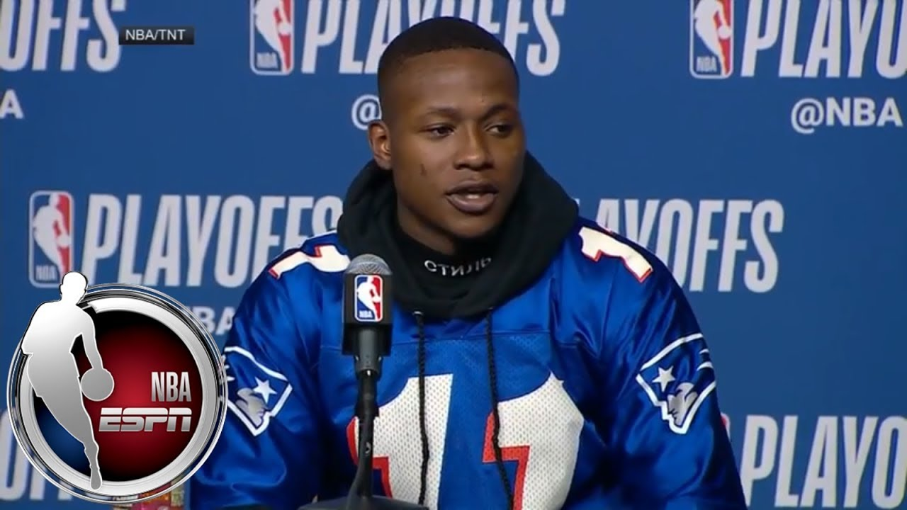 super popular e895a 4ac64 [FULL] Terry Rozier does 76ers-Celtics Game 1 news conference in Drew  Bledsoe jersey | NBA on ESPN