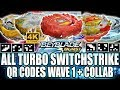 ALL QR CODES TURBO SWITCHSTRIKE WAVE 1 + RED REGULUS! BEYBLADE BURST TURBO APP QR CODES