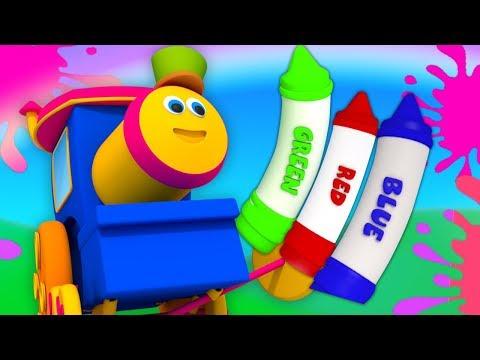 Bob поезд | мелки цвета песня | образовательная песня | Learn Colors With Bob | Crayons Colors Song