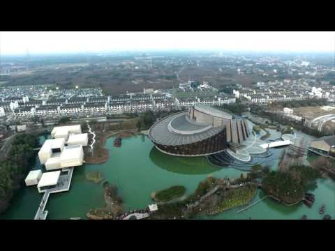 Drone flying over Wuzhen in China - 4K