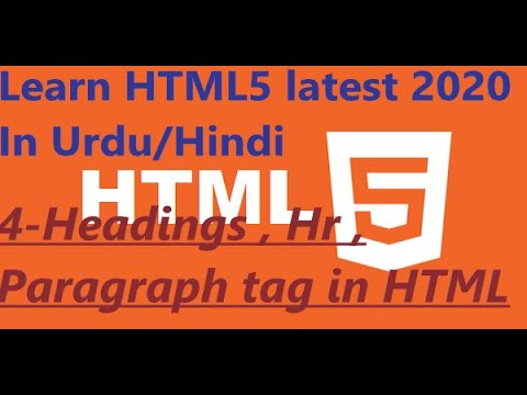 Headings , Line Break and hr tag in Html //Lesson 4 // Html5 tutorial// easy Urdu/Hindi thumbnail