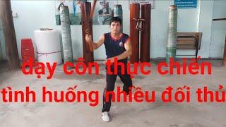 Dạy côn nhị khúc thực chiến(tình huống nhiều đối thủ)_học võ tại nhà bài 14