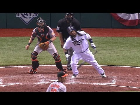 BAL@TB: Manny's final hit in Majors
