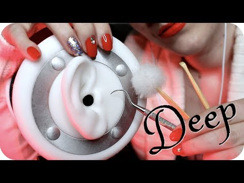 ASMR DEEP Inner Ear Cleaning (NO TALKING) Scraping, Picking w/ Metal, Bamboo & Feather Picks