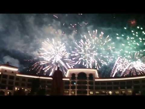 Palm Jumeirah  Fireworks in Dubai 2014 from Waldorf Astoria hotel Dubai Palm Jumeirah