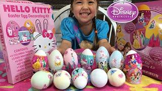 🐰 Easter Egg Coloring Disney Princess vs Hello Kitty! Fun Kids Activity