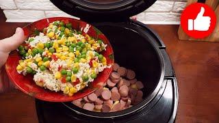 Проще ничего не готовила Все закинул и сварил рис с сосисками в мультиварке