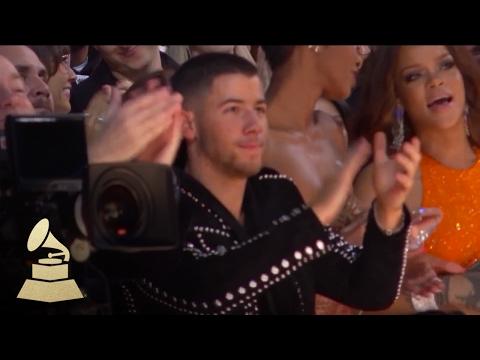 Joe Jonas & Rihanna React to Katy Perry | Audience Cam | 59th GRAMMYs