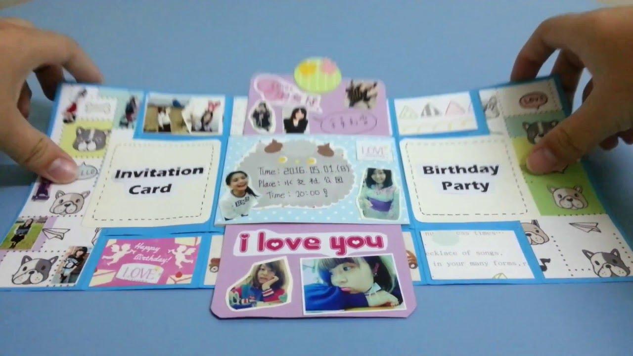 卡片製作/#6禮物盒機關/三折卡/雙向卡片 - YouTube
