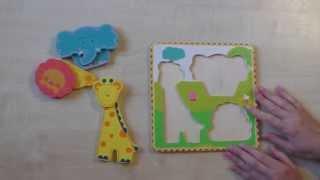 Животные Африки. Развивающие игры для детей от 1 года до 2 лет. Деревянный пазл для малышей.