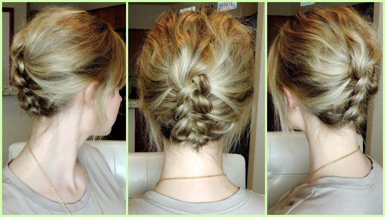 easy dutch braid updo for short to medium hair - youtube