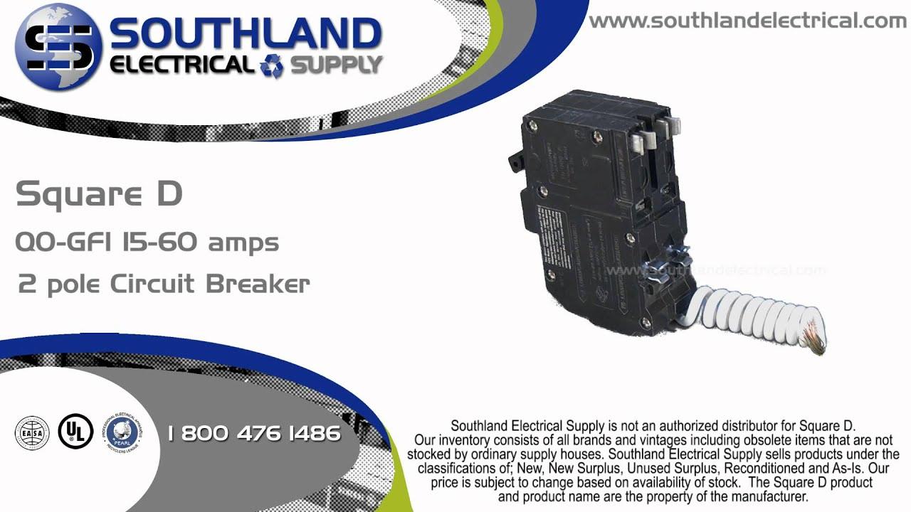 square d qo230gfi, 30 amp, 240 volt, 2 pole circuit breaker