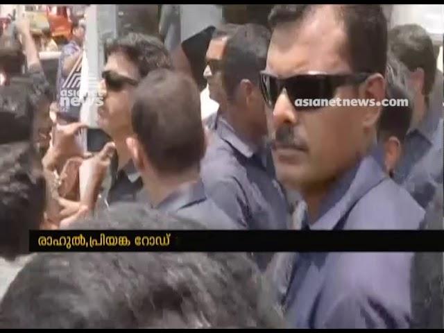 Rahul Gandhi helps journalists who were injured during Rahul's roadshow in Wayanad