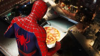 Tobey Maguire finally gets his pizza. It's pizza time! Raimi Suit Spiderman PS4