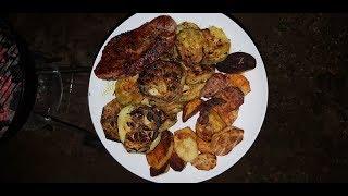 Ужин на даче мясо кабачки картошка   вкусно,легко и просто!!!