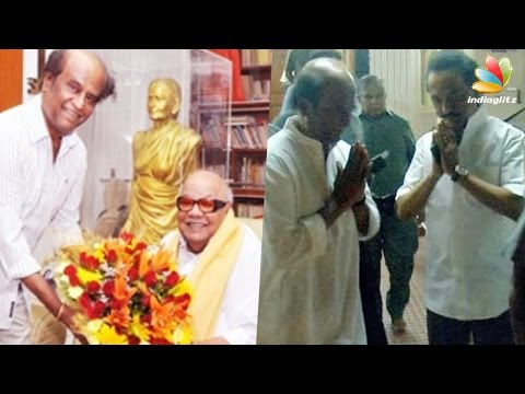 Superstar Rajinikanth visited M Karunanidhi's residence to enquire about his health condition