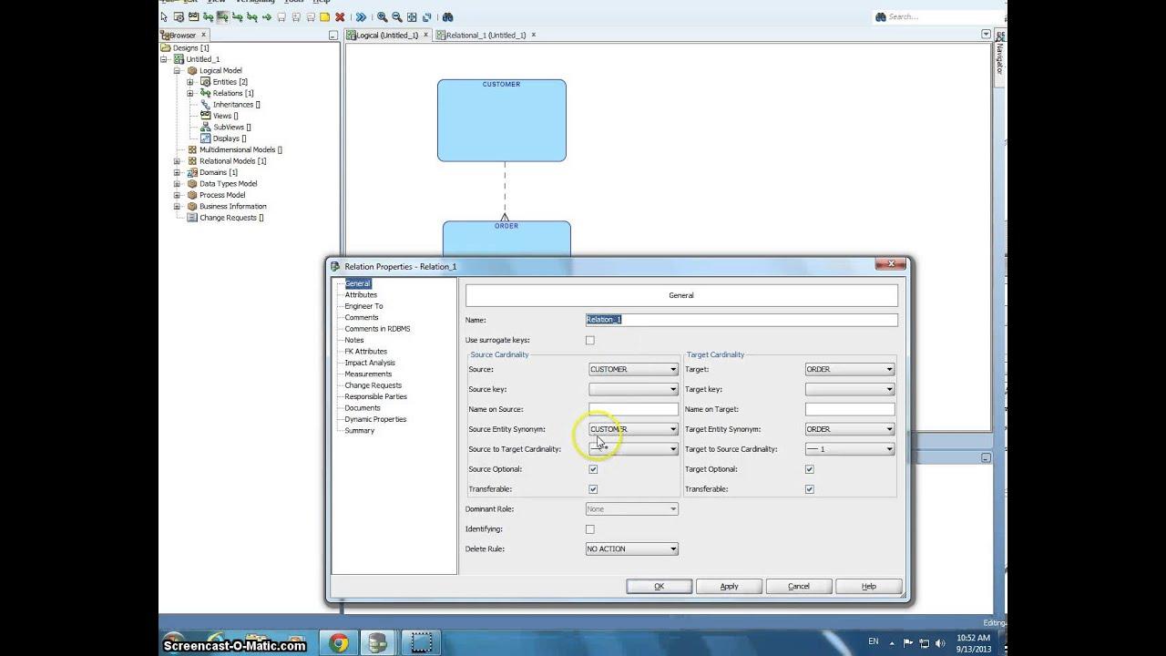 6k:182 Databases -- creating a logical model in Oracle SQL data modeler - YouTube
