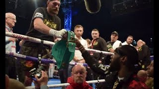 TYSON FURY TAKES DEONTAY WILDER'S WBC BELT FROM HIM & PARADES IT AROUND THE RING IN FRONT OF HIM