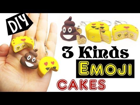 DIY MINIATURE EMOJI CAKE   -  how to  craft handmade kawaii cute Emoji polymer clay tutorial