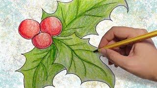 COMO DIBUJAR HOJAS DE ARBOLES DE NAVIDAD: Dibujos de Navidad paso a paso facil para niños