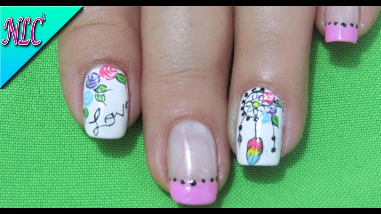 DECORACIÓN de UÑAS ATRAPASUEÑOS Y ROSAS - ROSES nail art ...