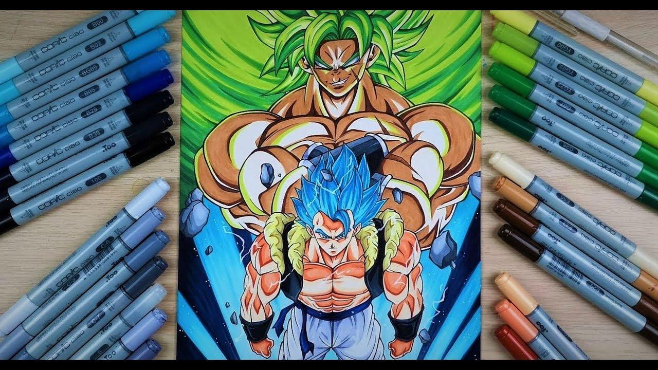 Dragon Ball Gogeta Cuerpo Completo Para Dibujar: Drawing Gogeta Blue Vs Broly! Dragonball Super Movie Cover