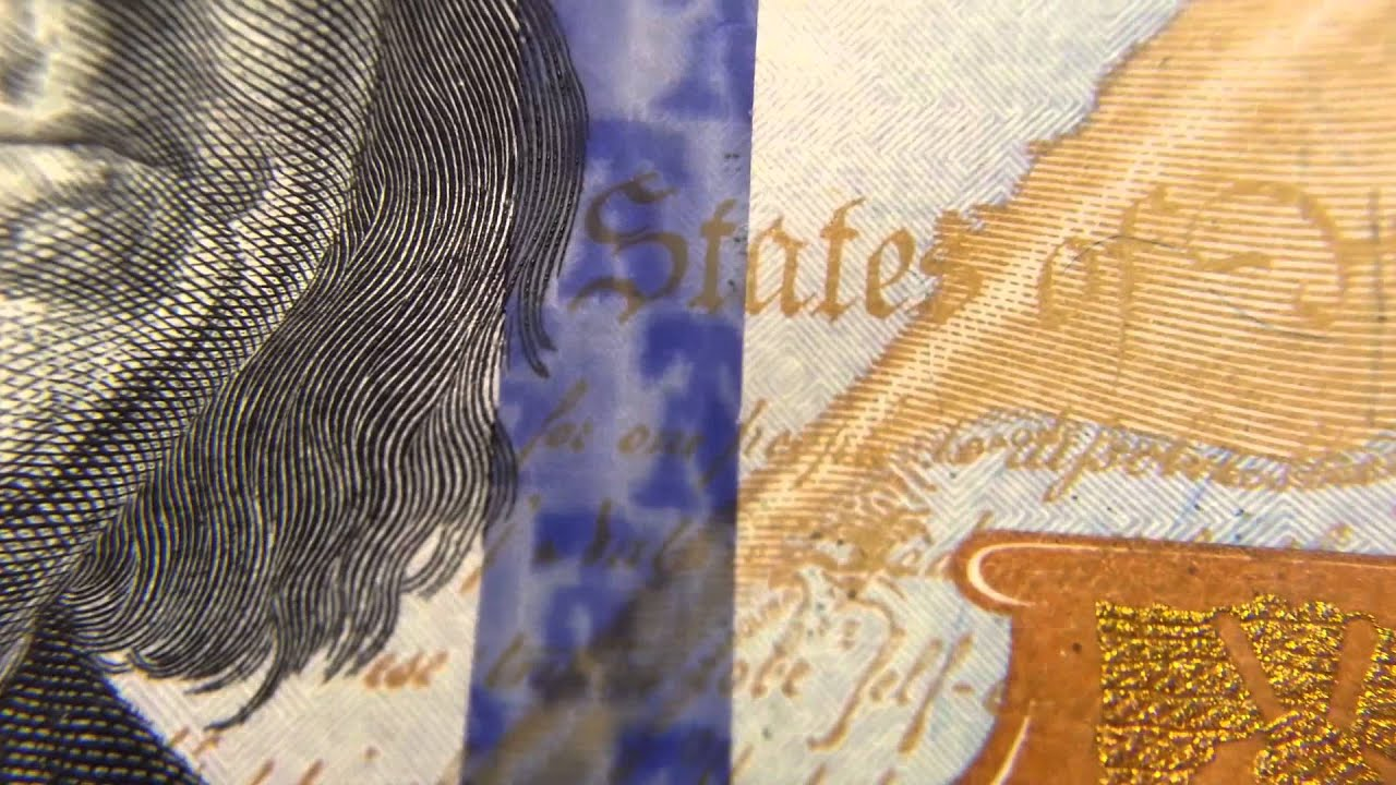 the new 100 dollar bills holographic blue ribbon 2013