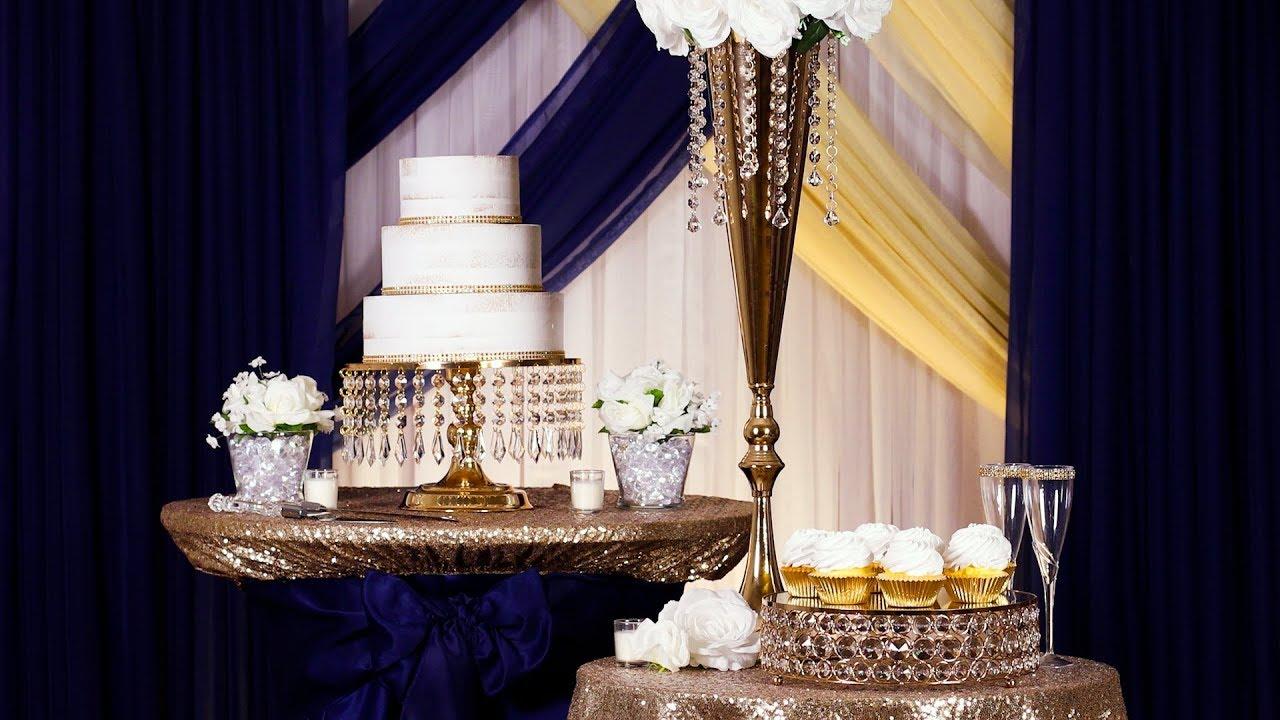 Navy Blue & Champagne Wedding Dessert Table Decor